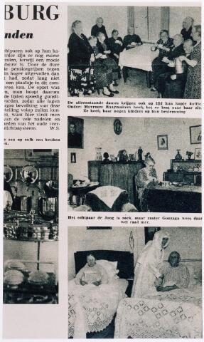 042147 - Bejaardenzorg. Impressies van de dagelijkse gang van zaken in pension St.-Jozefzorg kort na de opening, zoals afgebeeld in het tijdschrift Zuid van augustus 1951.