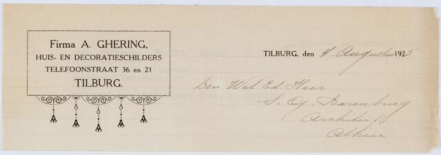 060151 - Briefhoofd. Nota van A. Ghering, huis- en decoratieschilder, Telefoonstraat 36 voor S.G. Barenburg, architect te Tilburg
