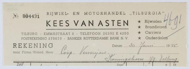 """059511 - Briefhoofd. Rekening van Rijwiel- en Motorhandel """"Tilburgia"""" KEES VAN  ASTEN, Emmastraat 8 voor Cooperatieve Ververijen, Koningshoeven 77"""