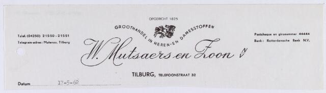 060787 - Briefhoofd. Briefhoofd van W. Mutsaers & Zoon N.V., Telefoonstraat 32
