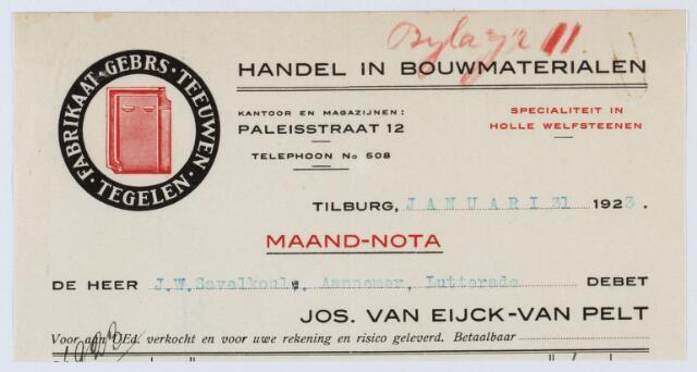 060083 - Briefhoofd. Nota van Jos van Eijck-van Pelt, Paleisstraat 12, handel in alle soorten bouwmaterialen voor J.W. Savelkoul, aannemer te Lutterade