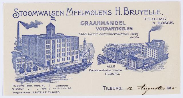059806 - Briefhoofd. Briefhoofd van Stoom Walzen Meelmolen Moulin a Cylinders H. Bruyelle, Graanhandel en Voerartikelen