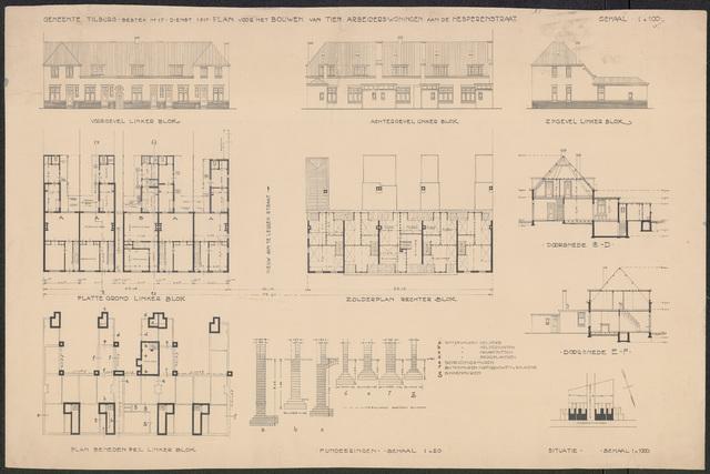 652481 - Bestektekening voor de bouw van tien arbeiderswoningen aan de  Hesperenstraat: gevels en plattegronden.