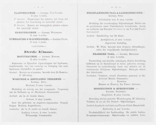051657 - Onderwijs. Rijks H.B.S. Willem ll . Urenverdeling van de Rijks Hoogere Burgerschool Willem II tweede en derde klasse schooljaar 1867/1868.