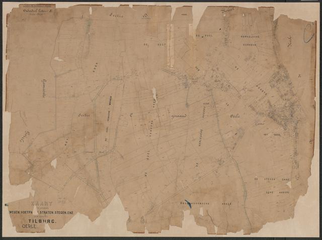 652641 - Wegenlegger. Kaart van de openbare wegen, voetpaden, straten, stegen, etc. Tilburg, Sectie C (Oerle), blad 1. Schaal 1:2500. Ongedateerd.