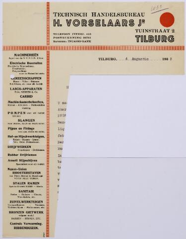 061371 - Briefhoofd. Briefhoofd van Technisch Handelsbureau H. Vorselaars Jr, Tuinstraat 2