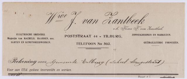 061452 - Briefhoofd. Nota van weduwe J. van Zandbeek v.h. Firma F.H. van Zantbeek,  electrische smederij, Poststraat 44 voor de gemeente Tilburg
