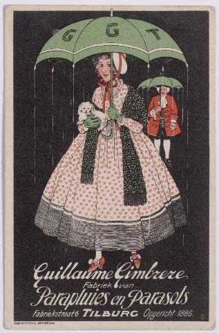 043519 - Reclamekaart van de firma Guillaume Gimbrère. Hij begon samen met zijn broer Adriaan een paraplufabriek. De broers gingen later uit elkaar, maar de firma heeft van 1884 tot 1951 paraplu's en parasols vervaardigd in de Fabriekstraat. De broers waren zonen van Jean François Gimbrère uit Antwerpen, die in 1846 een winkel vestigde aan de Heuvelstraat.