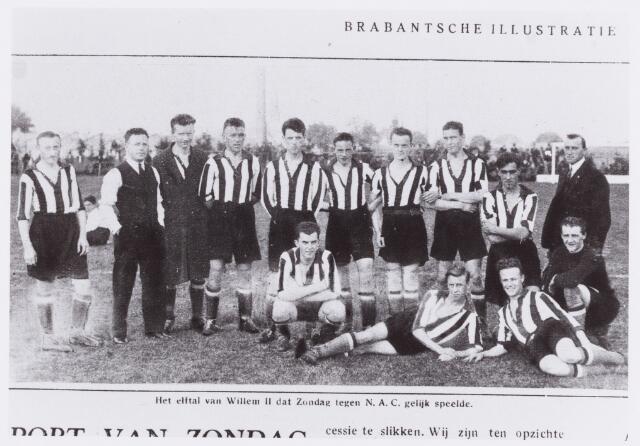 054038 - Sport. Voetbal. Willem II. Het elfta, dat gelijk speelde tegenb N.A.C. uitslag 1-1.  Reproductie uit Brabantse Illustratie