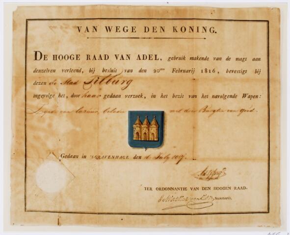 104080 - Akte waarbij de Hoge Raad van Adel te 's-Gravenhage de stad Tilburg toestemming verleent een wapen te mogen voeren van lazuurblauw met hierin drie gouden burchten.
