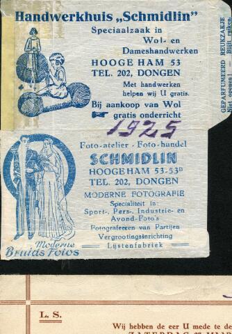 602710 - Reclamemateriaal voor het handwerkhuis en het foto-atelier van de familie Schmidlin aan de Hooge Ham 53 en 53b te Dongen.