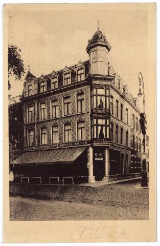 002158 - Pand aan de Spoorlaan op de hoek van de Langestraat, rond 1900 huisnummer M1541, vanaf 1910 nr. 112, nu Spoorlaan 406-408 bekend als chinees restaurant 'Maan Sun'. Het pand is rond 1900 gebouw in de eclectische stijl op de plaats van een bestaand pand (van rond 1863), waarvan nog delen aanwezig zijn. Rond 1900 was Johannes Hendricus Hendriks eigenaar en hotelhouder. Hij werd geboren te Beek en Donk op 8.3. 1862 en keerde in 1910 terug naar zijn geboorteplaats. In 1911 werd hij opgevolgd door Johannes Adelaars, geboren te Heeze op 30.5.1867 en overleden in 's.Bosch op 26.9.1932. Zijn weduwe, Henrica J.A IJpelaar verliet het pand op 28.12.1933. De volgende bewoner was restaurateur  Johannes W.F. Schuster, geboren te 's-Bosch op 24.9.1888. Hij verliet het pand in 1938. Een jaar later verhuisde hij met zijn vrouw, Anna Maria Bakermans, naar Arnhem was het stationsrestaurant ging exploiteren.Onder Schuster kreeg het pand aan de Spoorlaan de naam 'Hotel de la Station'. Onder zij opvolger, J. de Vos, kreeg het pand de naam hotel 'Victoria'. Het pand staat nu op de monumentenlijst van de gemeente Tilburg.