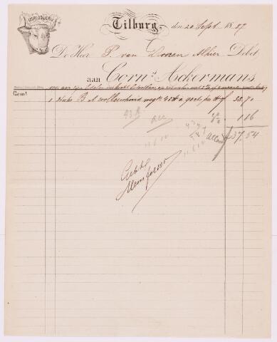 059474 - Briefhoofd. Rekening van  Leerlooijerij Tilburg: van de heer P. van Dooren Alhier aan  Corn's Ackermans