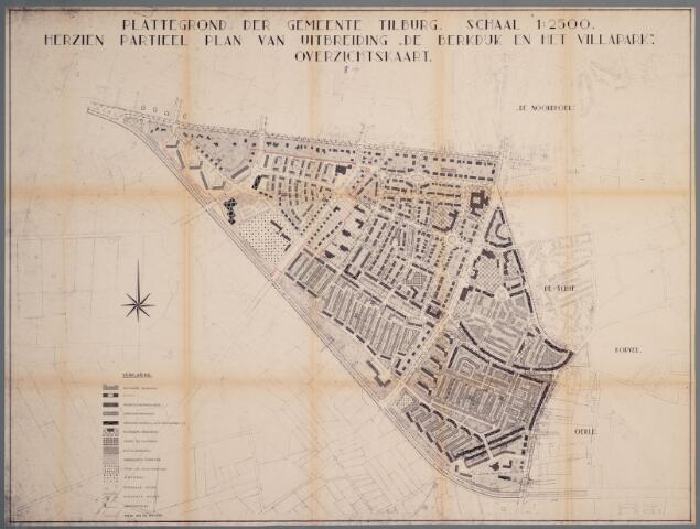 059415 - Kaart. Stadsuitbreiding. Bestemmingsplan. De Berkdijk en het Villapark, wijziging 1961 omgeving Friezenlaan