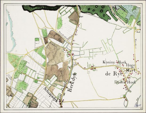 krnt_6 - Kaart. Detail van de manuscriptkaart van de heerlijkheid Tilburg en Goirle uit 1760 van de hand van Diederik Zijnen.  Nagetekend door L. Langeweg, ingekleurd door R. Peeters. De Reit en Berkdijk.