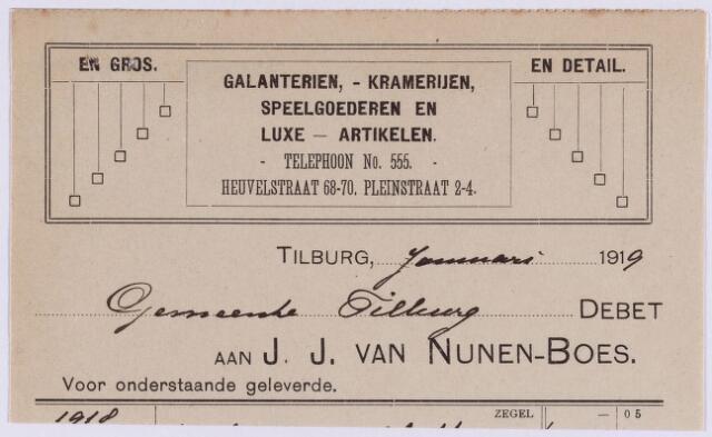 060839 - Briefhoofd. Nota van J.J. van Nunen-Boes, Heuvelstraat 68.70 - Pleinstraat 2-4, grootste magazijn van kinderspeelgoederen voor de gemeente Tilburg