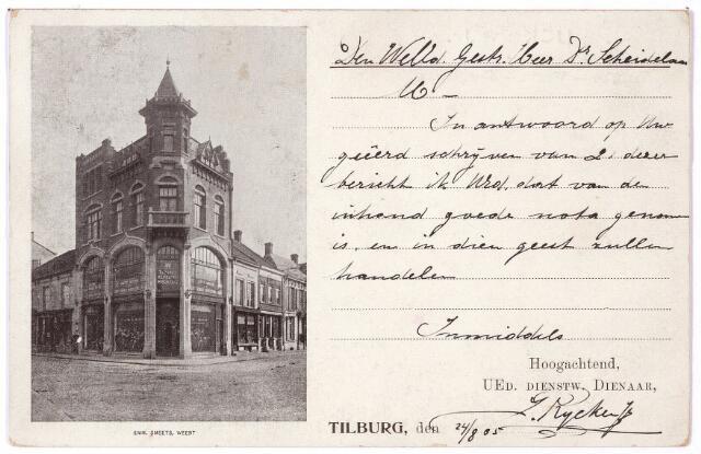 001835 - J. Rijcken confectie-magazijn op de hoek van de Heuvelstraat en de Markt. De winkel droeg de naam 'Tilburg's Kleedingmagazijn'.