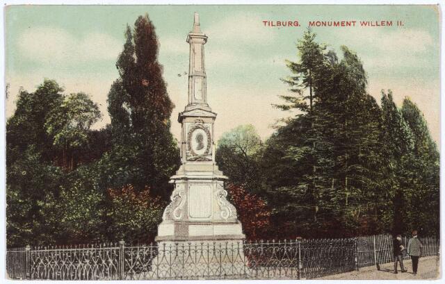 002515 - Gedenknaald voor koning Willem II op de hoek Monumentstraat-Paleisstraat.