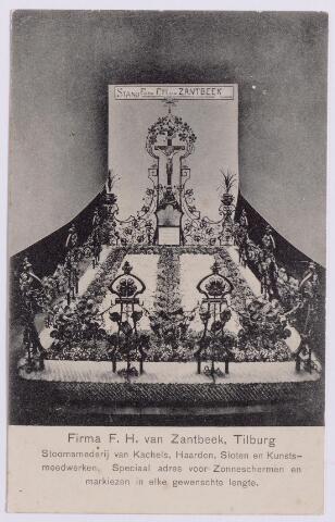 043513 - Grafmonument van de firma F.H. van Zantbeek uit Tilburg, stoomsmederij van kachels, haarden, sloten en kunstsmeedwerken. Dit monument vertegenwoordigde de firma op een beurs.