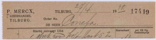 060728 - Briefhoofd. Nota van de naamlooze vennootschap P. Mercx's ijzer- en staalhandel, voor Konefa te Tilburg