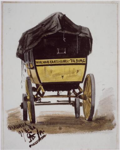 041456 - De diligence Tilburg - Waalwijk werd getrokken door twee 'Waalse' paarden en bood plaats aan negen personen. A. Grolman tekende de koets in 1879.