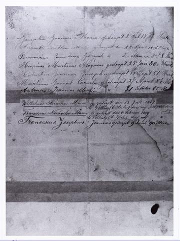 006676 - Achterzijde trouwbrief van Joannes Cornelis de Brouwer en Regina Martina Cornelia Dankers met de doopdata van hun kinderen.