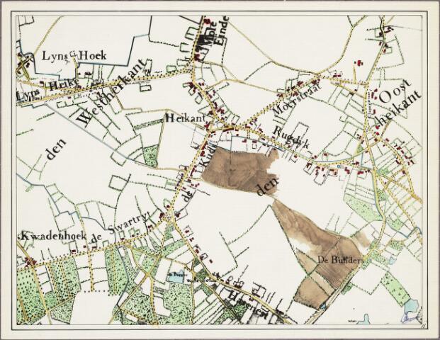 krnt_11 - Kaart. Detail van de manuscriptkaart van de heerlijkheid Tilburg en Goirle uit 1760 van de hand van Diederik Zijnen.  Nagetekend door L. Langeweg, ingekleurd door R. Peeters. Heikant.