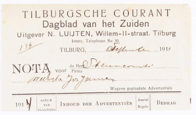 060622 - Briefhoofd. Nota van Tilburgsche courant , anderdaagsch nieuwsblad, rotatiedruk der Firma N. Luijten voor steuncommité