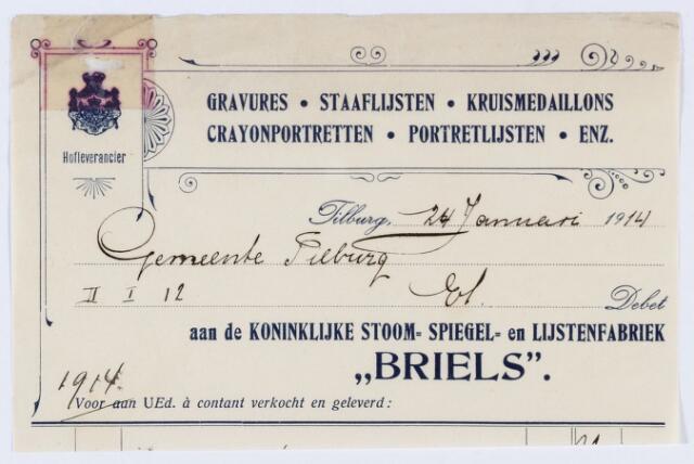 """059751 - Briefhoofd. Briefhoofd van """"Briels"""" Zomerstraat , Koninklijke Stoom- Spiegel en Lijstenfabriek"""