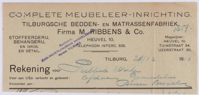 060970 - Briefhoofd. Nota van N.V. Tilburgsche Meubel- en beddenhandel v.h. Firma M. Ribbens & Co, Tuinstraat 34 - Heuvel 10 - Ijzerstraat 20 voor de gemeente Tilburg