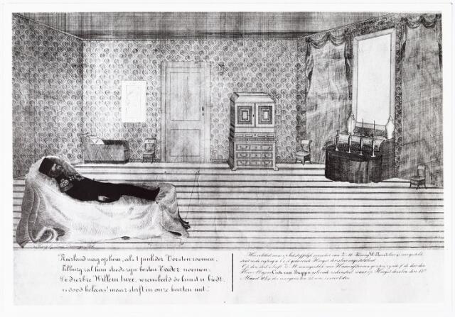 """008425 - Litho. Koning WILLEM II (1792-1849) opgebaard op zijn veldbed, gekleed in uniform, in de woonkamer van het """"Oude Paleis"""" aan de markt in Tilburg. Deze primitieve lithografie werd gemaaktg door Louis Demouge (1824-1894) die klerk was """"bij den intendant des konings"""" J.N. Frankenhoff. Demouge moet ook uitgever en steendrukker geweest zijn. Van deze uiterst zeldame prent zijn slechts twee exemplaren bekend: een in het Rijksprentenkabinet te Amsterdam en een in het Gemeentearchief Tilburg (sinds 2005: Regionaal Archief Tilburg e.o.)."""