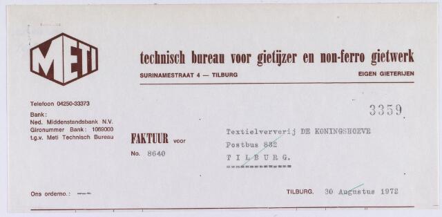 060737 - Briefhoofd. Nota van Meti, Technisch Bureau voor gietijzer en non-ferro  gietwerk, Surinamestraat 4 voor Ververij De Koningshoeven, Koningshoeven 77