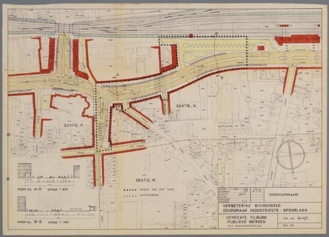 059429 - Kaart. Wederopbouw. Bestemmingsplan. Verbetering binnenstad. Doorbraak Industriestraat-Spoorlaan, 1959.