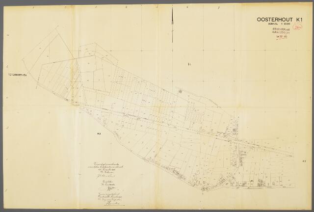 104971 - Kadasterkaart. Kadasterkaart / Netplan Oosterhout. Sectie K1. Schaal 1: 2.500.