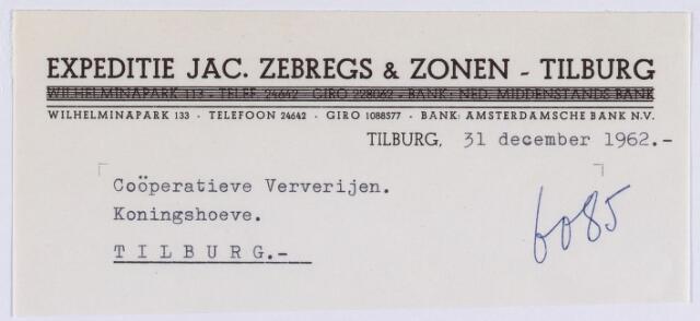 061459 - Briefhoofd. Nota van Expeditie Jac. Zebregs & Zonen - Tilburg, Wilhelminapark 133 voor de Coöperatieve Ververijen, Koningshoeve te Tilburg