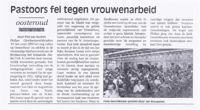 038752 - Industrie. Vrouwenarbeid. Volt Oosterhout. Een stukje geschiedenis uit een Oosterhoutse krant in 2001 over de perikelen bij het opstarten van het atelier in 1951. Fabricage- of productie vond in Oosterhout plaats van april 1951 t/m 1967. In het artikel wordt gesteld dat het merendeel van de productie bestond uit transistors.Die heeft Volt nooit gemaakt. Er werden spoelen voor radio en televisie alsmede trimmers gemaakt.