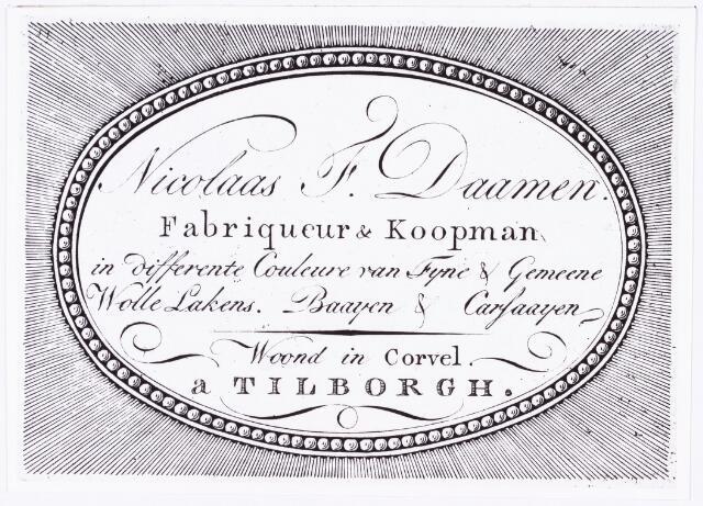 008204 - Adreskaartje van laken-'Fabriqueur & Koopman' Nicolaas F. Daamen dat tussen 1790en 1816 gemaakt moet zijn wonende in Korvel. Visitekaartje.