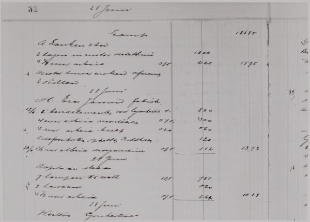 040600 - Fragment boekhouding Baetengroep uit de jaren dertig. Zie Bedrijvig Tilburg. (firma's A. Franken, H. Eras-Jansen, Kapelaan Maes, Weiters)