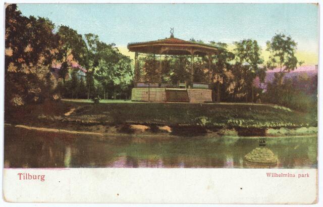 002889 - Wilhelminapark, vijver en muziekkiosk.