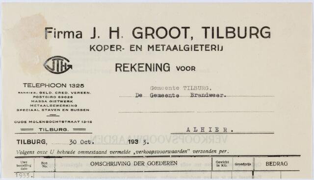 060207 - Briefhoofd. Nota van Firma J.H. de Groot, Tilburg, koper- en metaalgieterij, Oude Molenbochtstraat 13-15 voor de gemeente Tilburg (Brandweer)