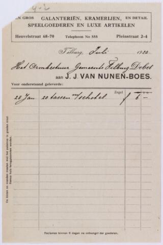 060840 - Briefhoofd. Nota van J.J. van Nunen-Boes, Heuvelstraat 68.70 - Pleinstraat 2-4, grootste magazijn van kinderspeelgoederen voor het Armbestuur van de gemeente Tilburg