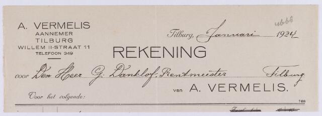 061325 - Briefhoofd. Nota van A. Vermelis, aannemer, Willem-II-straat 13 voor G. Danklof, rentmeester Tilburg