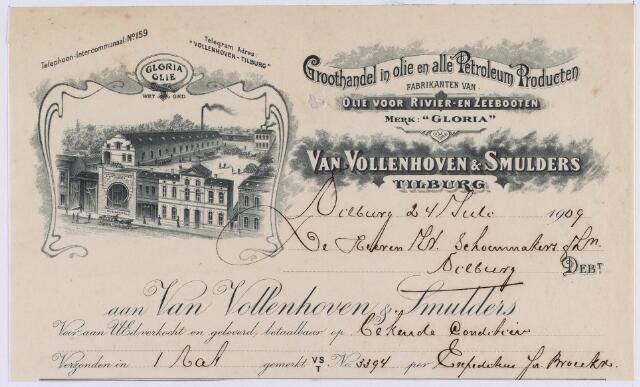 061358 - Briefhoofd. Nota van Van Vollenhoven & Smulders, groothandel in olie- en alle petroleum-producten, voor W. Schoenmakers & Zn te Tilburg