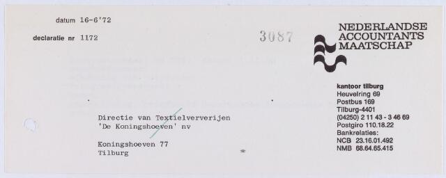 """060809 - Briefhoofd. Nota van Nederlandse Accountants Maatschap, Heuvelring 69 voor Textielweverijen """"De Koningshoeven"""" NV, Koningshoeven 77"""