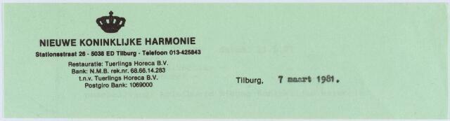 060818 - Briefhoofd. Briefhoofd van de Koninklijke Harmonie, Stationsstraat 26