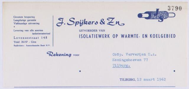 061161 - Briefhoofd. Nota van J. Spijkers & Zn, uitvoerder van isolatiewerk op warmte- en koelgebied, Lovensestraat 148 voor Coöp. Ververijen U.A., Koningshoeven 77