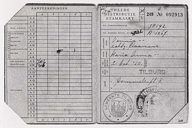 013938 - Tweede Wereldoorlog. Distributie. Distributiestamkaart ten name van Maria Anna Vennix, echtgenote van Claassen, wonende aan het Commelinplein. Alleen op vertoon van deze kaart kreeg men bonnen