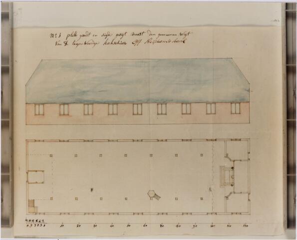 028968 - Tekening. Primus van Gilsstraat. Tekening van de schuurkerk van het Heike aan de Oude Kerkstraat, nu Primus van Gilsstraat.