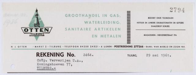 060859 - Briefhoofd. Nota van Otten Tilburg, groothandel in Gas-, Waterleiding-, sanitaire artikelen en metalen, Markt 2 voor Coöp. Ververijen Koningshoeven