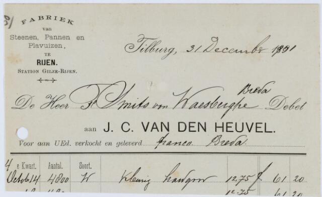060278 - Briefhoofd. Nota van Stoomfabriek van Steenen en Profielsteenen J.C. van den Heuvel, voorSmits van Waesberghe Breda